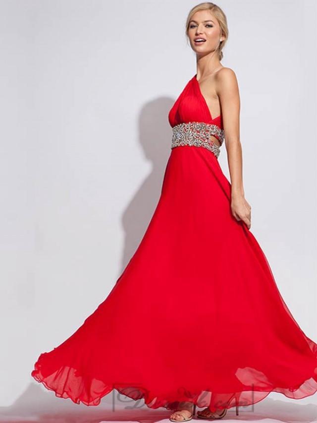 wedding photo - One shoulder Chiffon Long Prom Dresses with Embellishment Waist