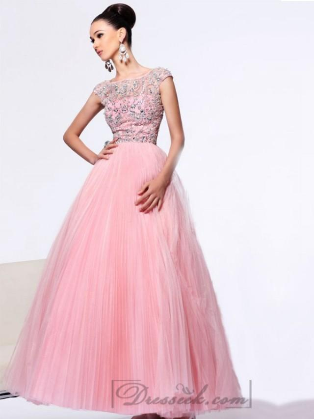 wedding photo - Cap Sleeve A-line Beaded Bodice Long Prom Dresses with V-back