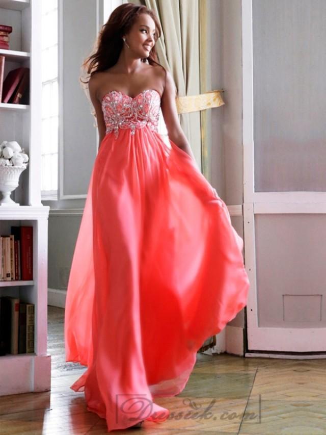 wedding photo - Elegant Strapless Sweetheart Beaded Bodice Floor Length Prom Dresses
