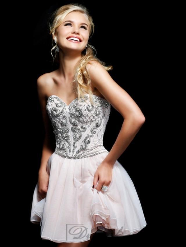 wedding photo - Strapless Sweetheart Beaded Bodice Short Prom Dresses