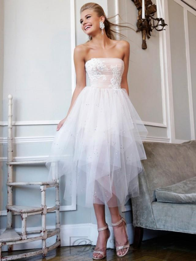 wedding photo - Ivory Strapless Floral Embellished Bodice Tea Length Prom Dresses