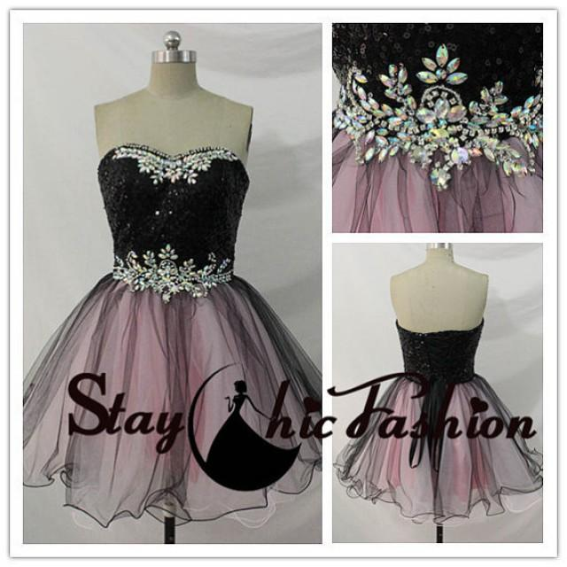 wedding photo - Black Pink Sequined Top Rhinestone Beaded Waist Two Tone Party Dress