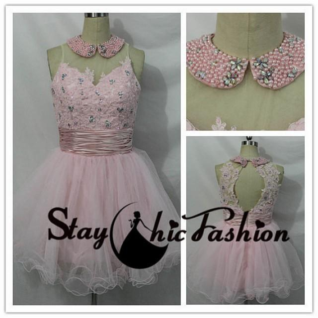 wedding photo - Pink Pearls Beaded Collar Neck Floral Applique Top Short Princess Prom Dress