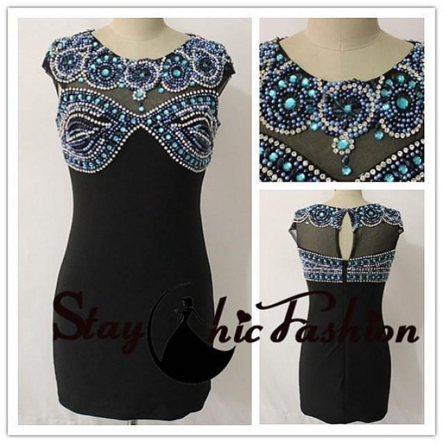 wedding photo - 2015 Jewels Beaded Mesh Top Black Short Fitted Jersey Prom Dress Sale