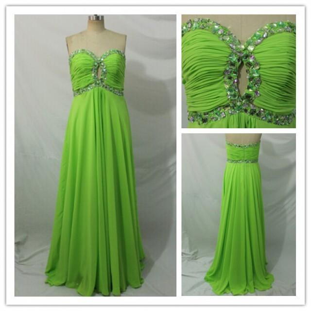 wedding photo - 2015 Cheap Sexy Beaded Floor Length Lime Green Prom Dresses Discount
