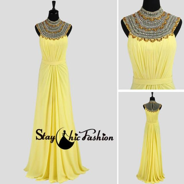 wedding photo - Jeweled Sheer High Neck Yellow Long Chiffon Formal Dress 2014