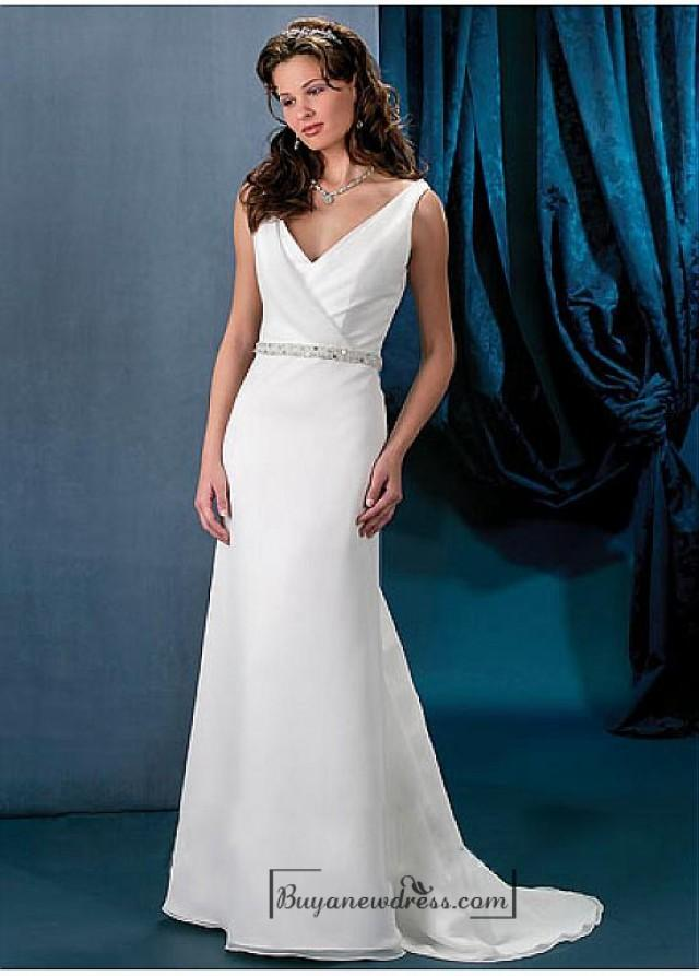 wedding photo - Beautiful Elegant Exquisite V-neck Chiffon Wedding Dress In Great Handwork