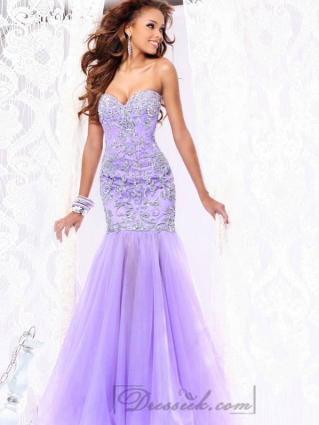 wedding photo - Strapless Sweetheart Embellished Bodice Mermaid Long Prom Dresses