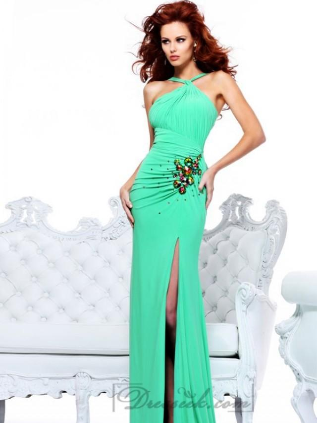 wedding photo - Halter Pleated Bodice Long Prom Dresses