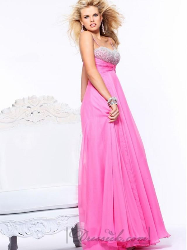 wedding photo - Spaghetti Straps Cross Bodice Long Prom Dresses with Layered Skirt