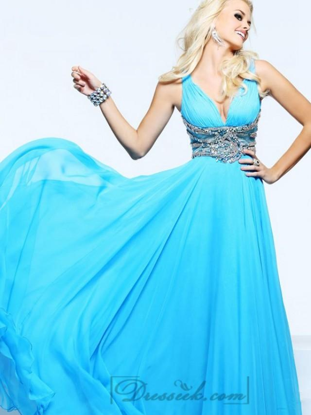 wedding photo - Plunging V-neck and V-back Long Prom Dresses with Beaded Waist
