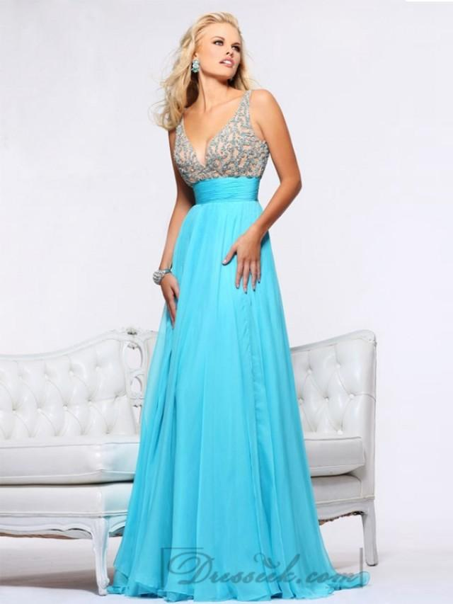 wedding photo - Plunging V-neck and V-back Empire Waist Long Prom Dresses
