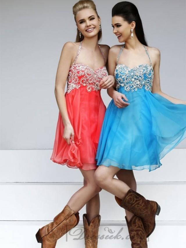 wedding photo - Short Halter Beaded Sweetheart Prom Dresses with Layered Skirt