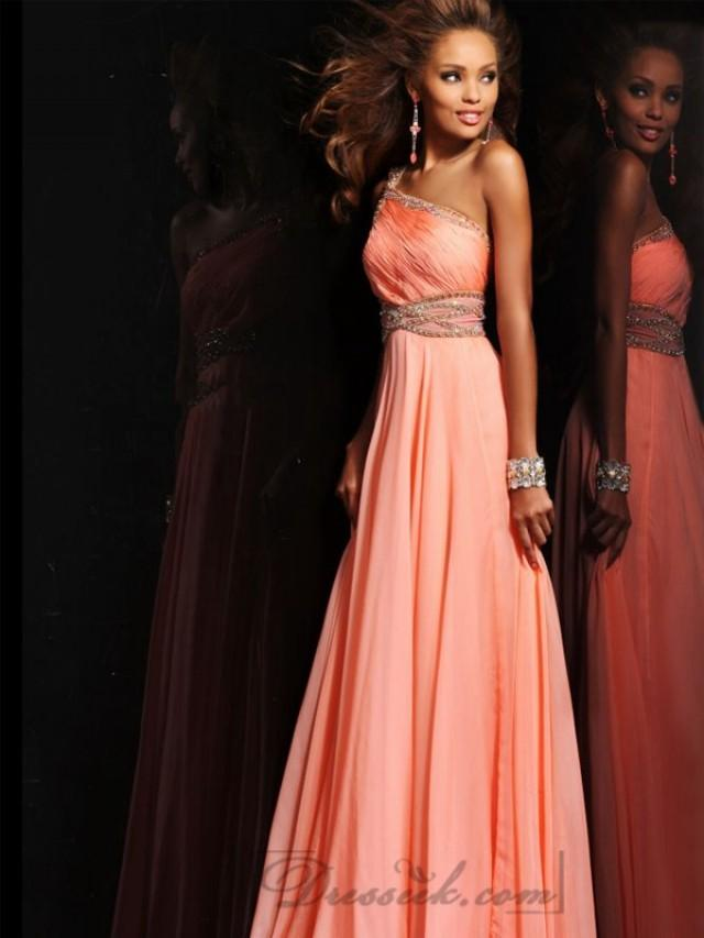wedding photo - Beaded One-shoulder Draped Long Prom Dresses with Beaded Empire Waist