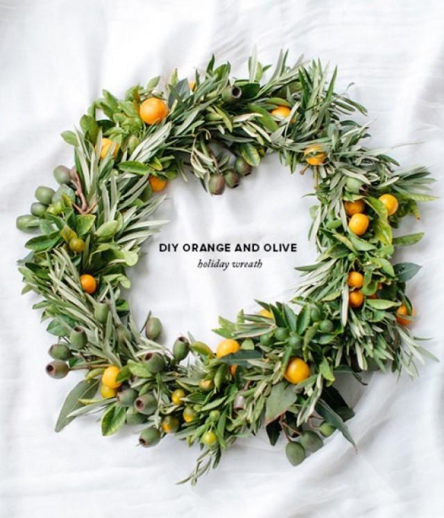 Diy Wedding Wreaths: DIY Orange And Olive Wreath For Winter Holiday Weddings