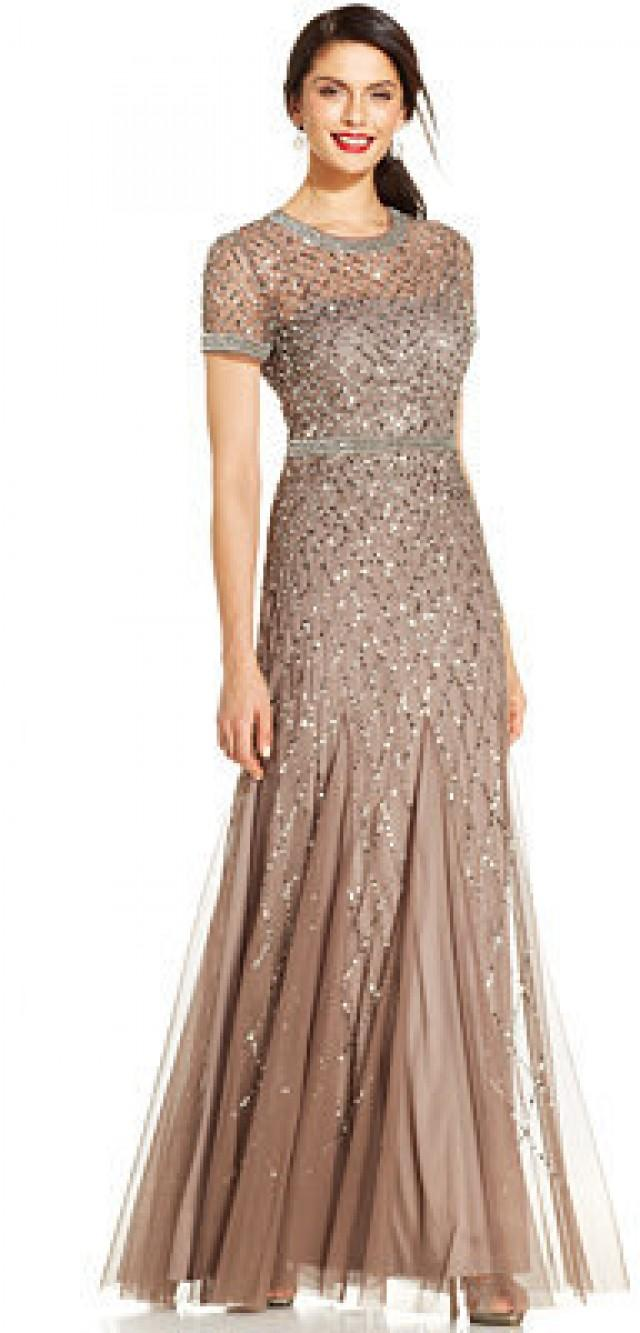 Adrianna Papell Short-Sleeve Embellished Pleated Gown #2202173 ...