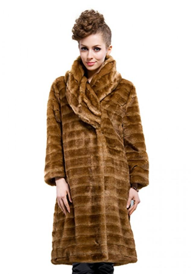 wedding photo - faux fur wrap with brown collar women long  jacket