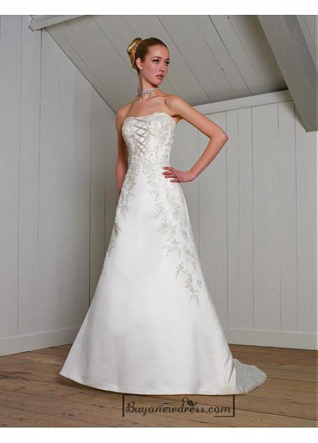 wedding photo - Beautiful Elegant Exquisite Strapless Satin A-line Wedding Dress In Great Handwork