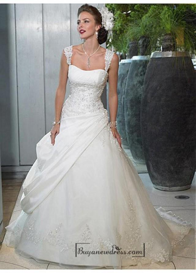 wedding photo - Beautiful Elegant Exquisite Taffeta & Organza A-line Beaded Appliques Wedding Dress In Great Handwork