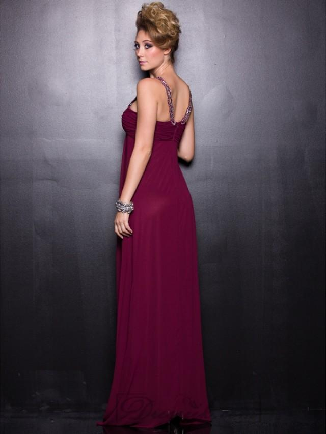 wedding photo - Burgundy Chiffon Sequin Straps Long Prom Dresses