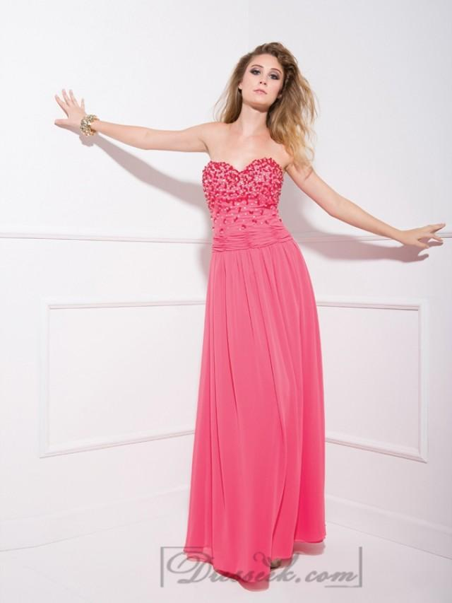 wedding photo - Watermelon Strapless Beaded Sweetheart Long Prom Dresses