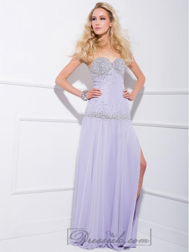 wedding photo - Lilac Strapless Sweetheart Beaded Long Prom Dresses