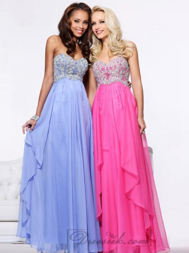 wedding photo - Strapless Sweetheart Beaded Bodice Long Prom Dresses