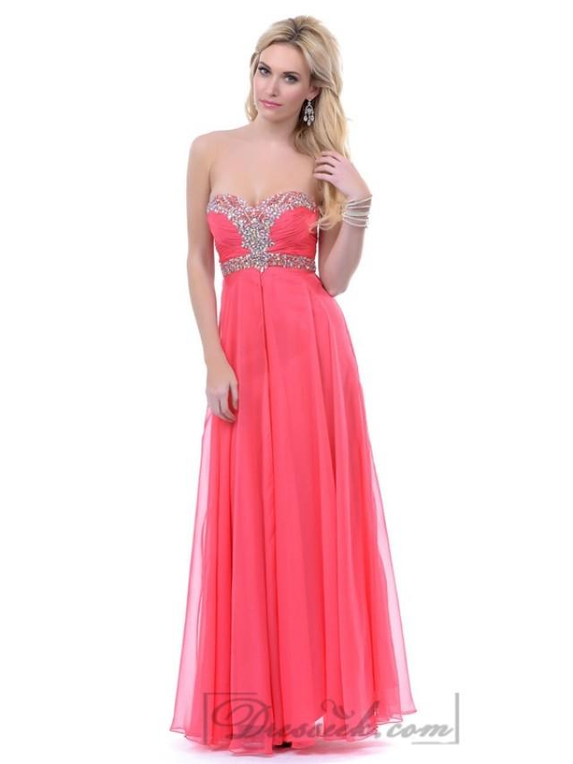 wedding photo - Coral Strapless Sweeetheart Beaded Empire Waist Long Prom Dresses