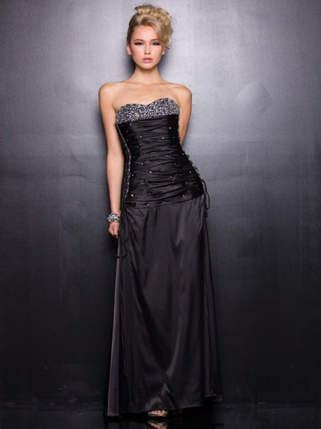 wedding photo - Black Strapless Beaded Sweetheart Satin Prom Dresses with Braided Sides