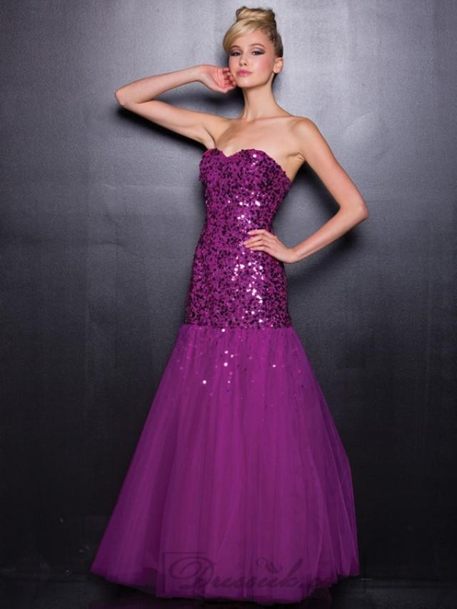 wedding photo - Strapless Sequin Sweetheart Long Prom Dresses with A-line Skirt