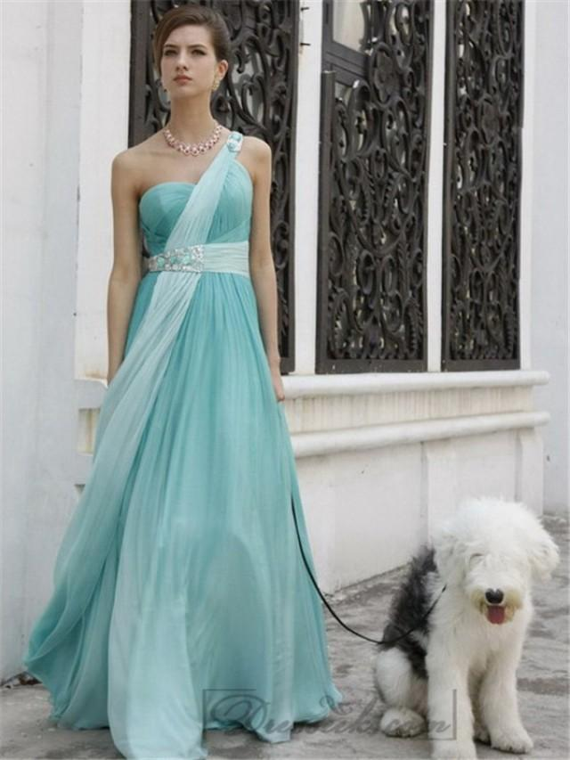 wedding photo - Asymmetric One Shoulder Aqua Long Grecian Style Formal Dresses