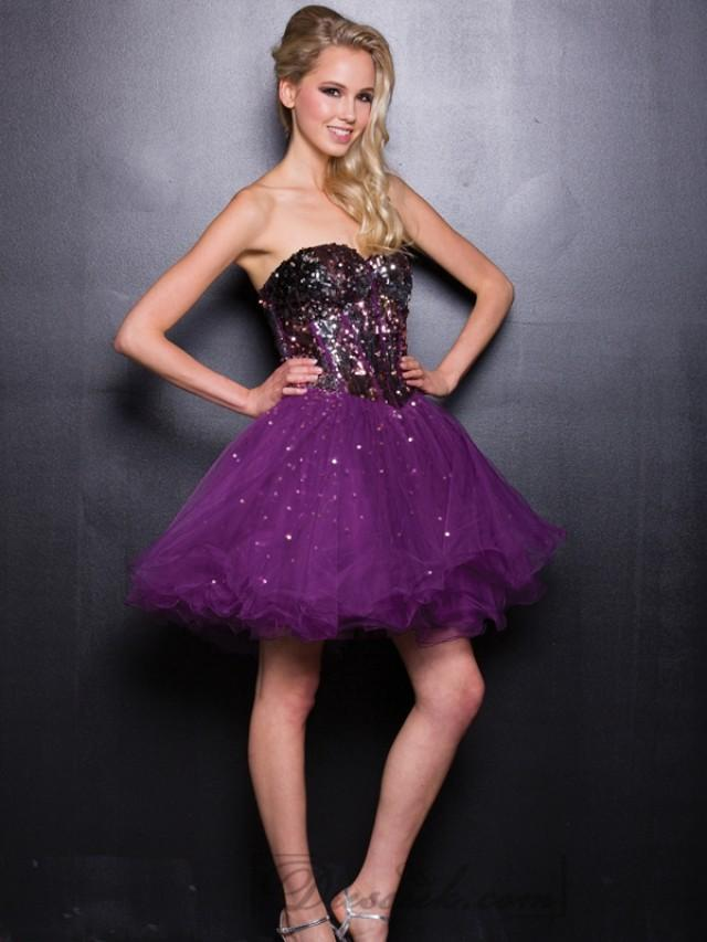 wedding photo - Plum & Silver Sweetheart Sequin Tulle Short Prom Dresses