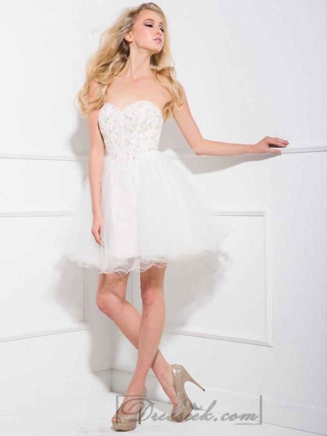 wedding photo - White Sweetheart Beaded Tulle Short Prom Dresses