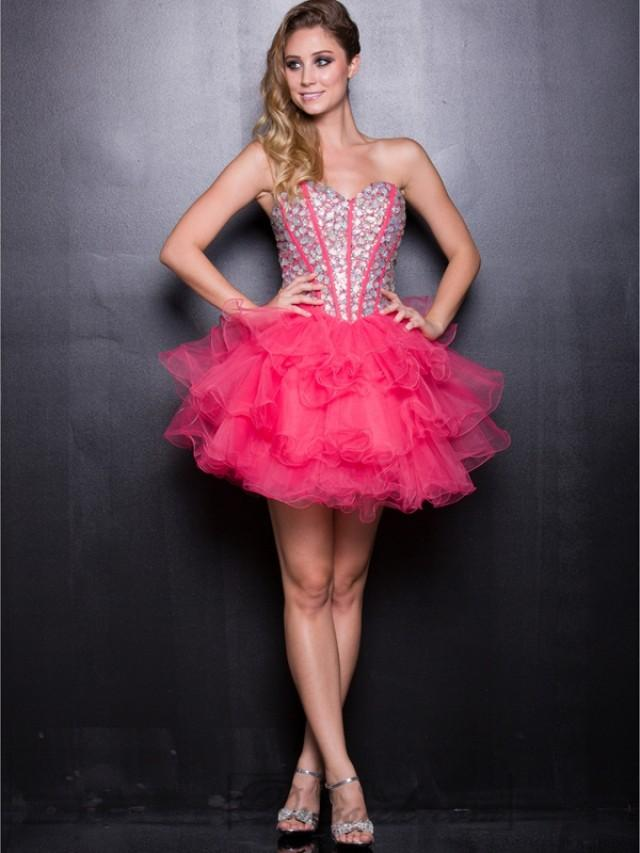 wedding photo - Watermelon Sweetheart Beaded Tulle Short Prom Dresses with Layers Skirt