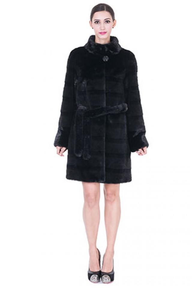 wedding photo - Faux black mink fur with strips women middle coat