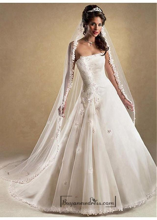 wedding photo - Beautiful Elegant Organza & Satin A-line Strapless Wedding Dress In Great Handwork