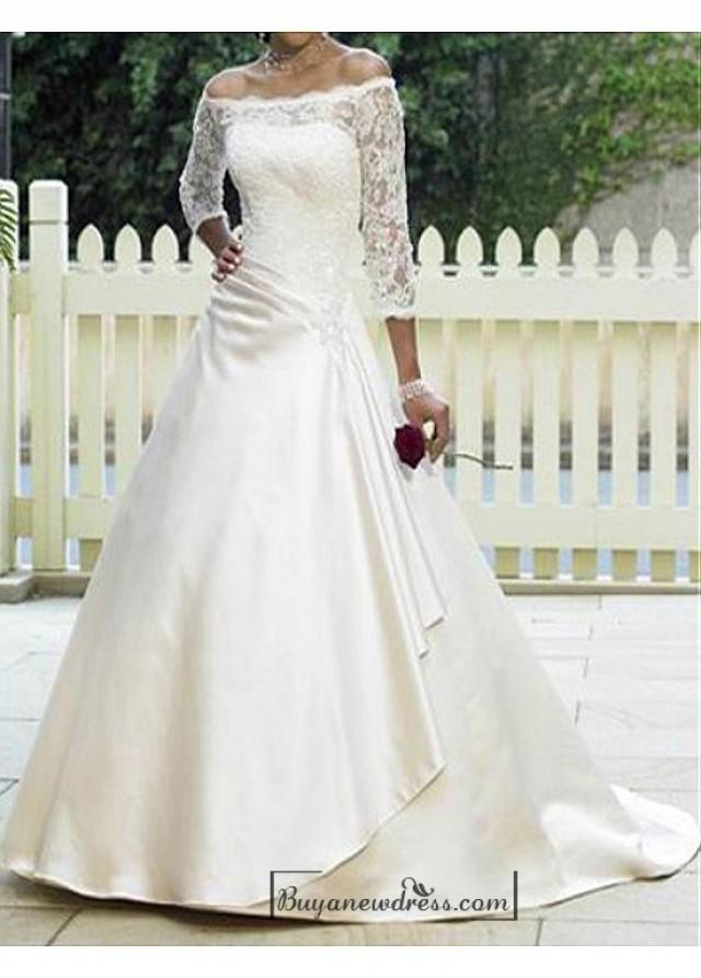 wedding photo - Beautiful Elegant Satin & Lace A-line Off-the-shoulder Wedding Dress In Great Handwork