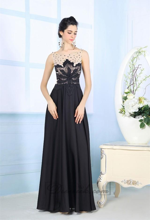 wedding photo - Black Illusion Boat Neckline Embroidered Floor Length Prom Dresses