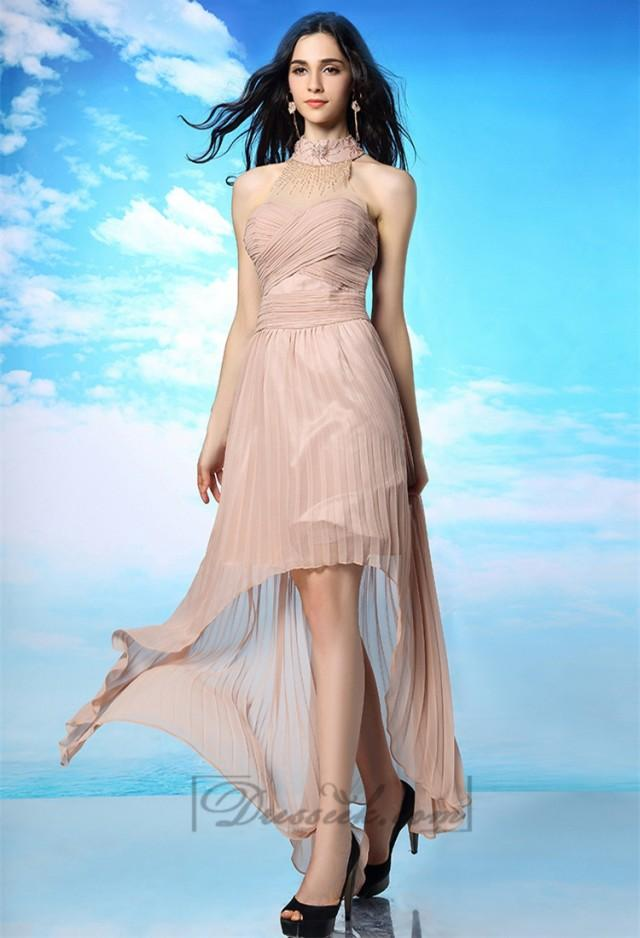 wedding photo - Illusion High Neckline Criss-cross Bodice Pleated High-low Prom Dresses