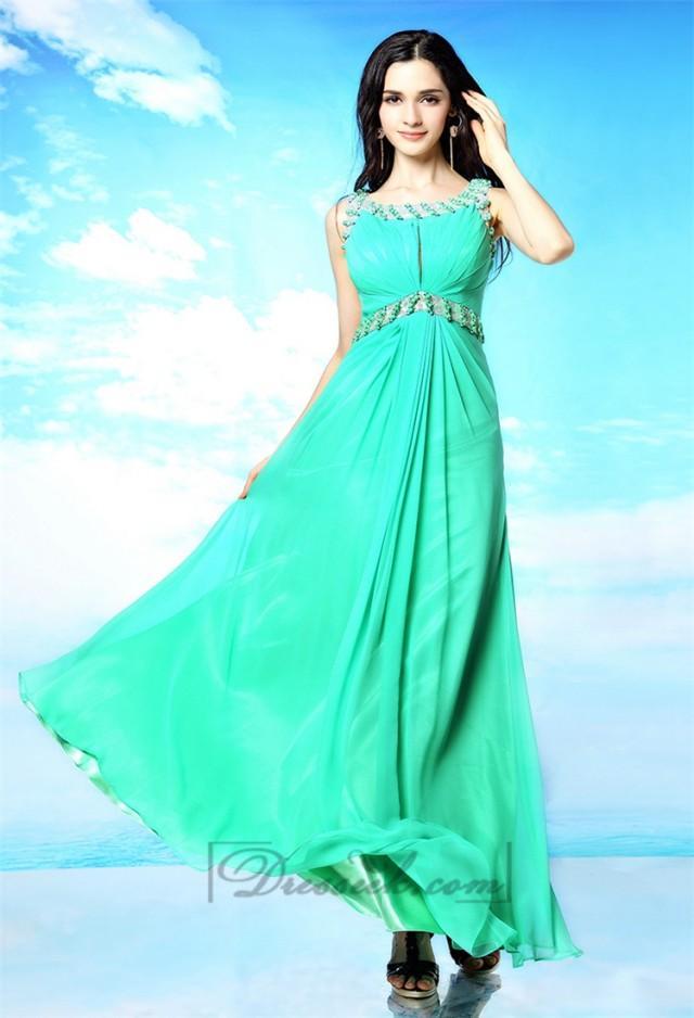 wedding photo - Blue Green Beaded Bateau Neckline Prom Dresses with Keyhole Back