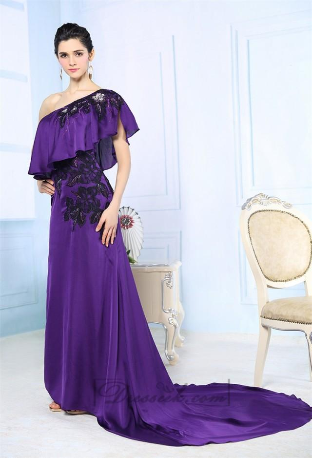 wedding photo - Purple Asymmetrical One-shoulder Embroidered Long Formal Dresses