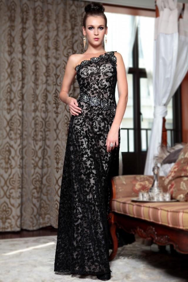 wedding photo - Black One Shoulder Lace Over Long Formal Dresses