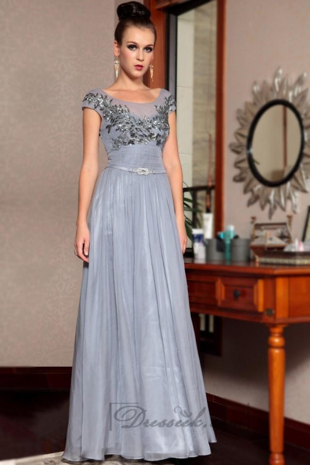 wedding photo - Cap Sleeves Bateau Neckline Beaded Bodice Long Formal Dresses