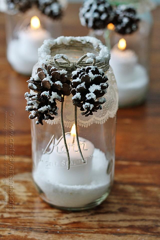 how to make snowy pinecone candle jars diy crafts. Black Bedroom Furniture Sets. Home Design Ideas