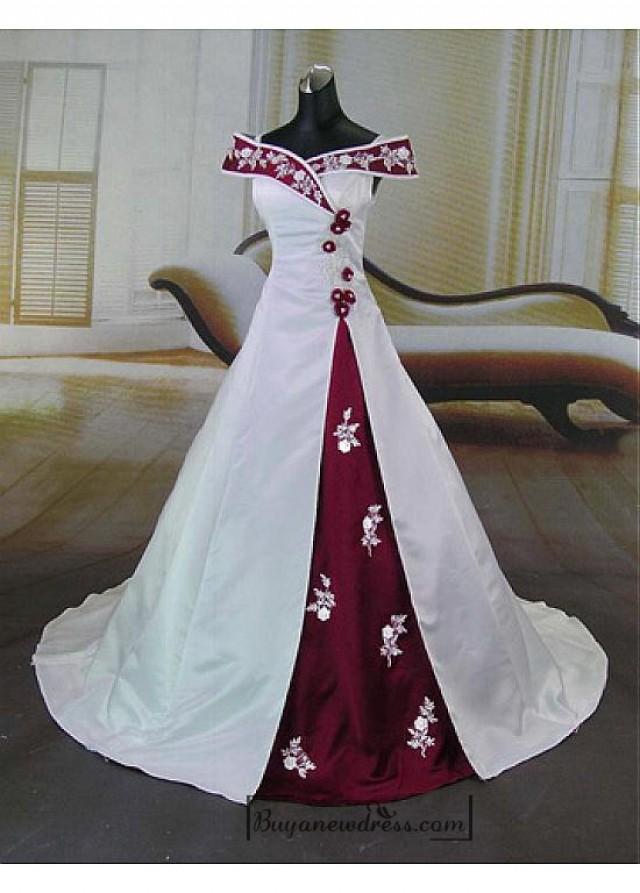 wedding photo - Beautiful Elegant Satin A-line Off-the-shoulder Wedding Dress In Great Handwork