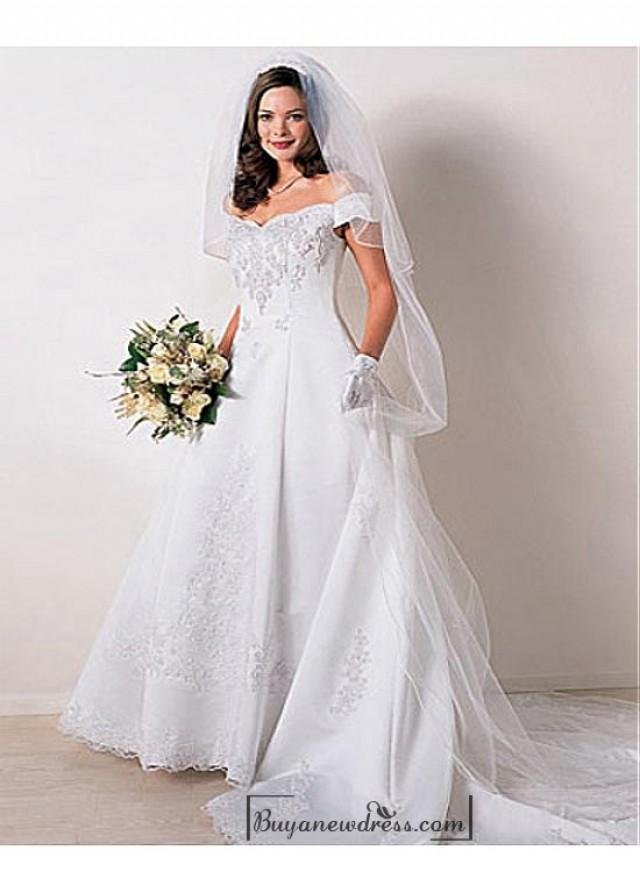 wedding photo - Beautiful Elegant Satin A-line Off-the-shoulder Wedding Dress In Great Handwork