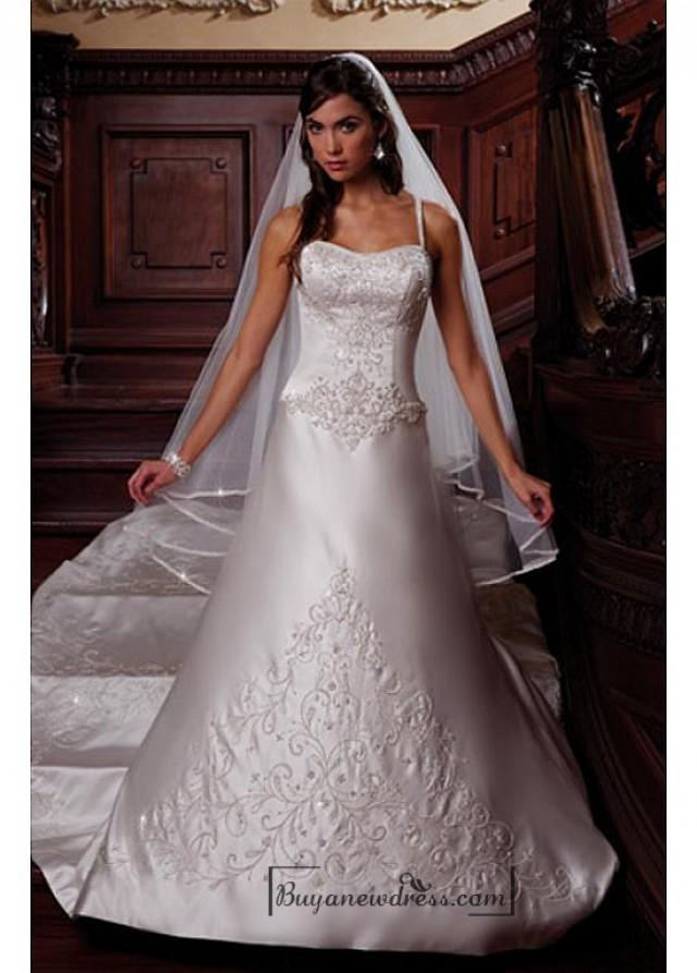 wedding photo - Beautiful Elegant Satin A-line Spaghetti Straps Wedding Dress In Great Handwork