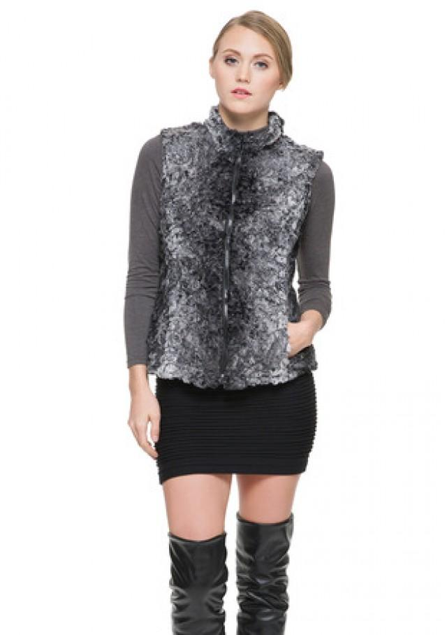 wedding photo - Faux gray astrakhan short women vest