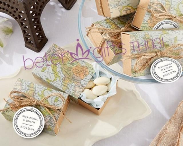 Themed Gift Box Ideas : World map favor box th a unique wedding gift ideas