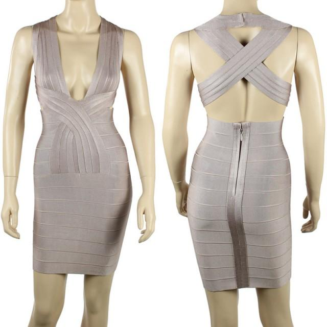 wedding photo - New Arrival V Neck Fashion Bandage Dress Bodycon Dress Sale 2014